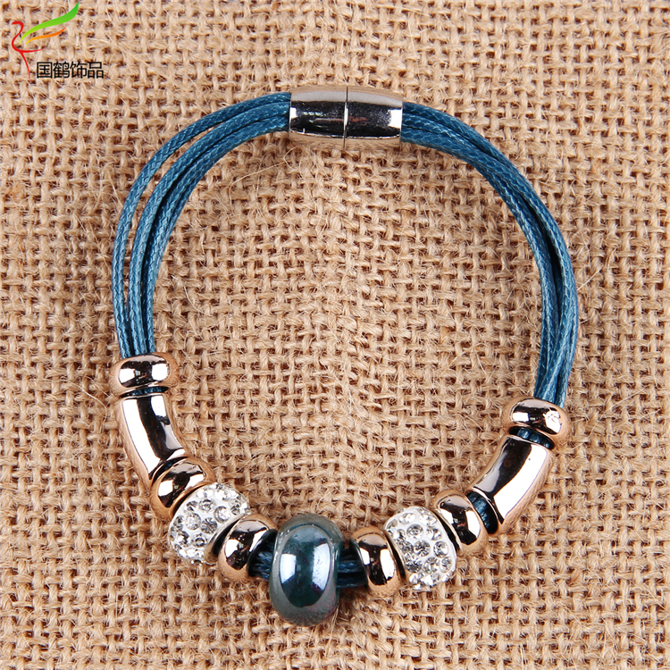 magnetic adjustable wire white bracelet wrap leather bead bangle wholesale