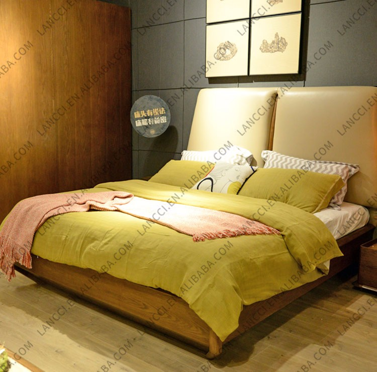 712 China Bed Making Factory Latest High Back Wood Double