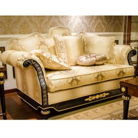 YB69-2 Noble Replica Venetian Gold Three Seater Sofa with Ivory Soft Fabric, Luxury Italian Villa Furniture