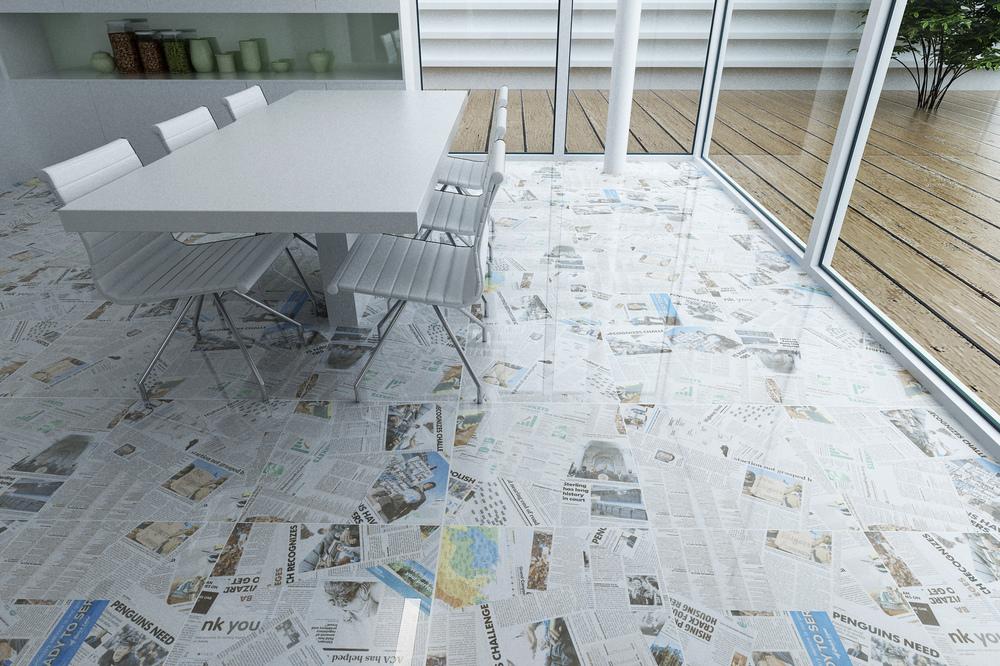 Newspaper Pattern Livingroom Full Polished Glazed Floor