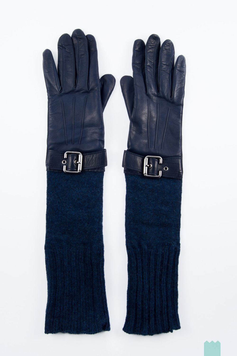 Lady navy blue long leather gloves splice customized knit wool
