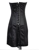 Gothic Black Long CORSET Dress PVC Vinyl Size S-6XL Clubwear Steampunk