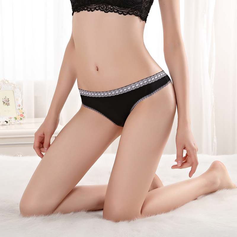 Sexy Lace Trim G-string Cotton Panties For Women Ladies' Sexy Fancy Panty Thong