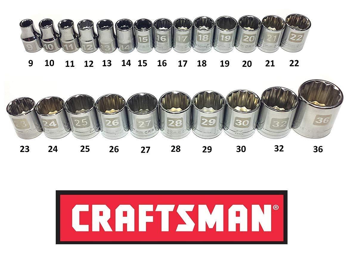"Craftsman 19pc 1//2/"" SAE 12pt Point LASER ETCHED Sockets Set Tools STD Drive"