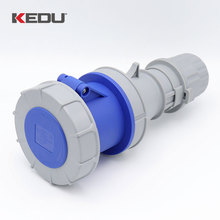 KEDU 63A 9h 230V 3P+PE IP67 4 Pin Outdoor Socket Outlet Industrial Waterproof Connector With CE SEMKO Certificated