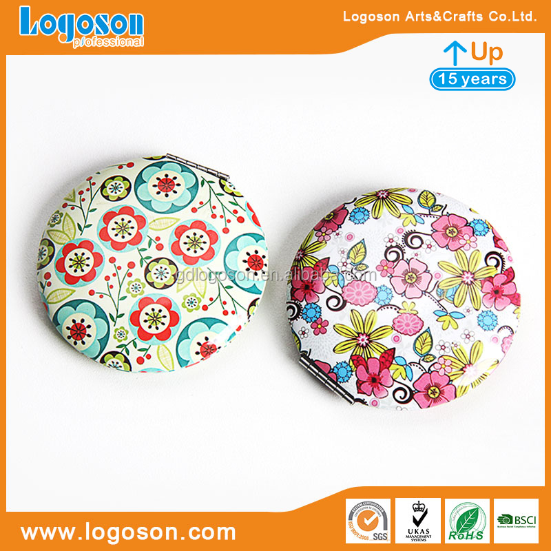 Folding Pocket Mirror Round Compact Mirror Double-sided Makeup Mirror