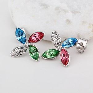 Gorgeous Clover Shaped Crystal Erring Jewelry,925 Sterling Silver Jewelry wholesale