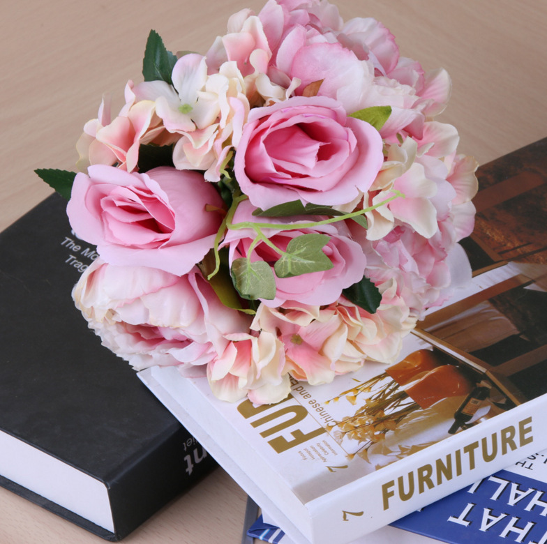 A quality hydrangea and tea peony bud artificial flower Wholesale wedding bouquet decoration flower artificial valentine flowe