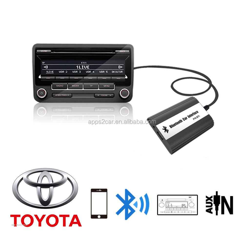 Apps2carDigital CD changer for Toyota Small 6+6 plug (USB SD AUX Bluetooth adapter interface) with CD changer