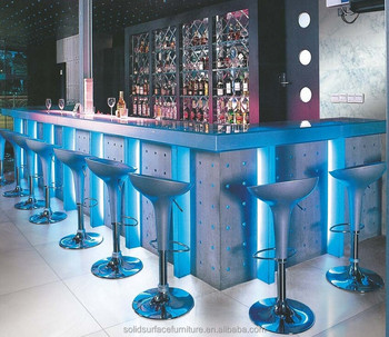 Modern nightclub furniture for sale blue illuminated led - Barras de bar para salon de casa ...