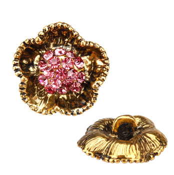 New 23mm Gold Metal Flower Shape Pearl Rhinestone Buttons Vintage  Rhinestone Buttons For Clothing da8ced0b6a40