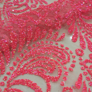 French custom fancy designs lace sequin net embroidery fabric for dress