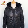 Winter new fashion black women warm leather fur lined coat jacket