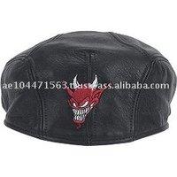 HMB-903C LEATHER DEVIL EMBROIDERY GOLF CAP BLACK NEWS BOY HATS