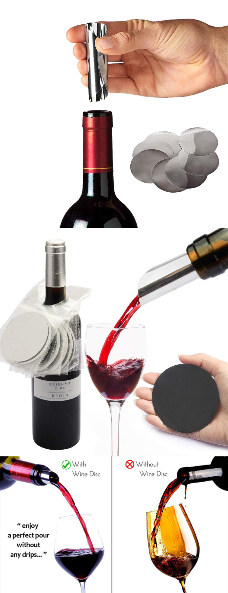 Custom Logo Wine Dropstop PET Aluminum Foil Stop Wine Accessories Set