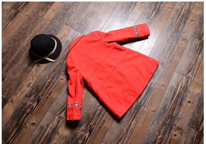 Дети одежда большой девочки осень пункт шерстяная ткань пальто ретро пальто куртка дети пальто
