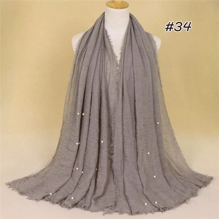 Women tassel shawl scarf with beads pearls large size hijab