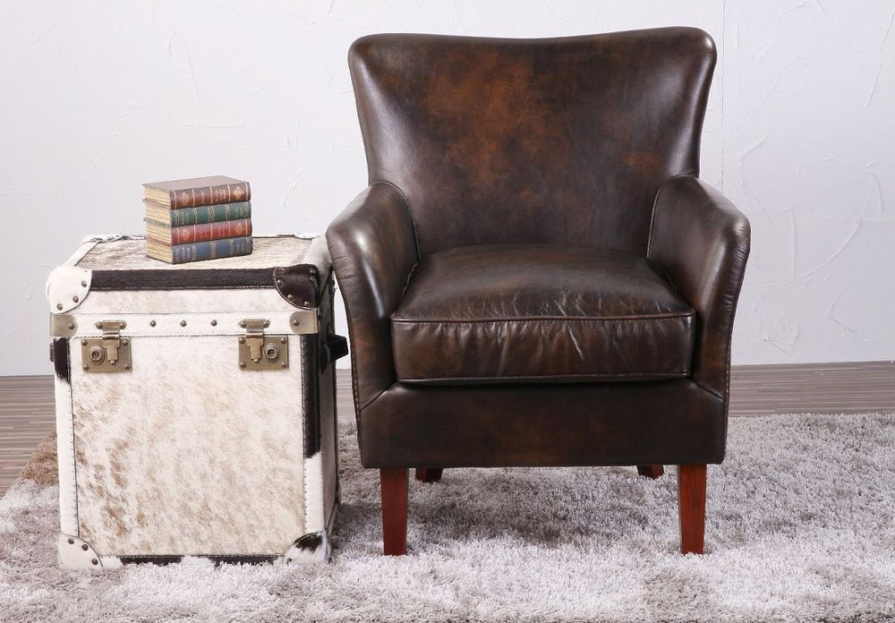Deluxe Club Vintage Top Leather Sofa Armchair With Studs