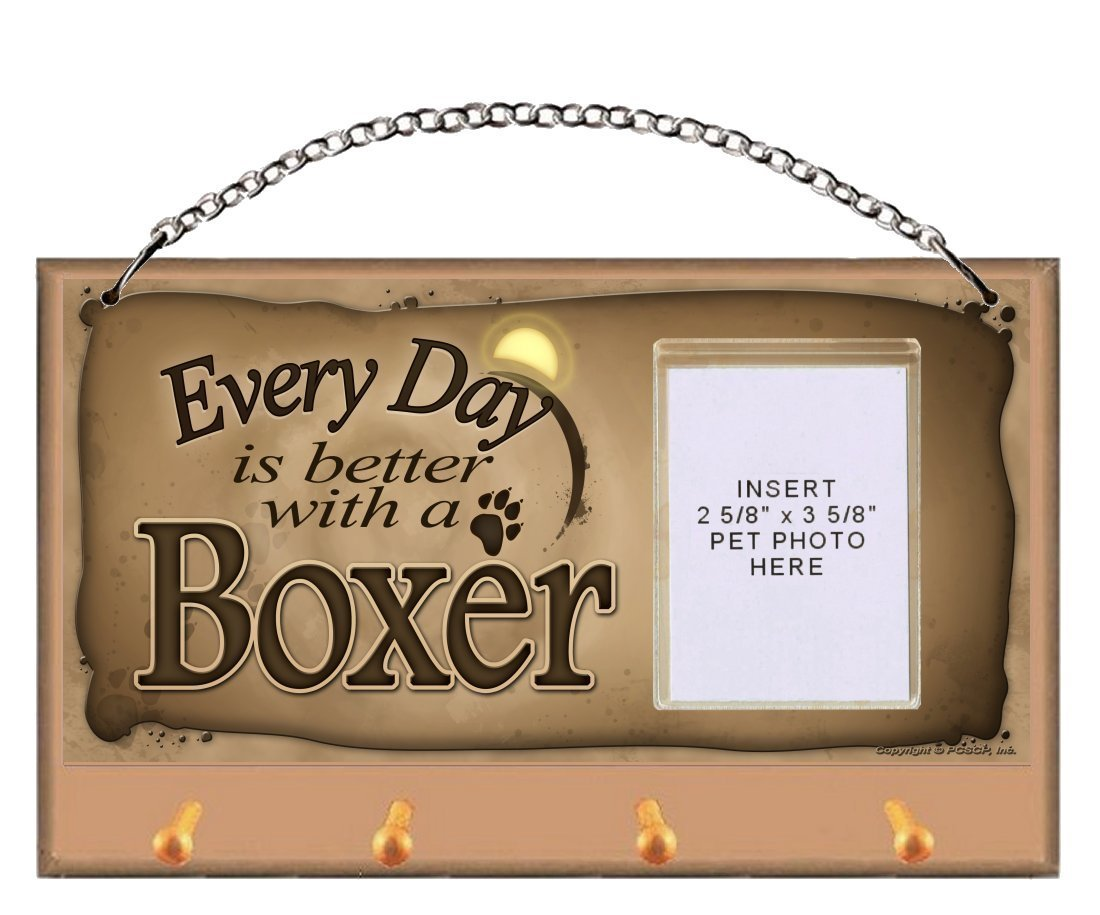 """Boxer """"Every Day is Better With a Boxer"""" Key and Leash Holder featuring Clear Pocket to Insert Your Photo"""