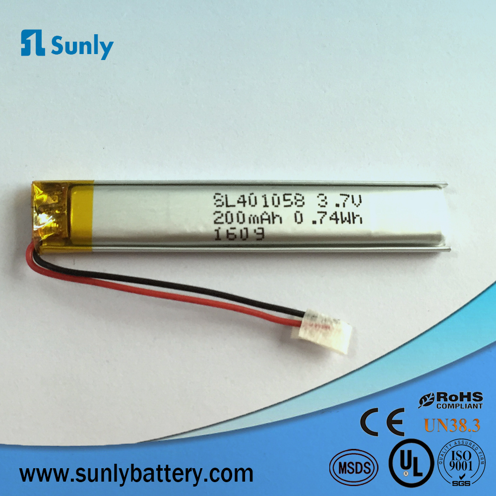 Electric Pen 3.7v 401058,200mAh Lipo Battery with CE Certificated