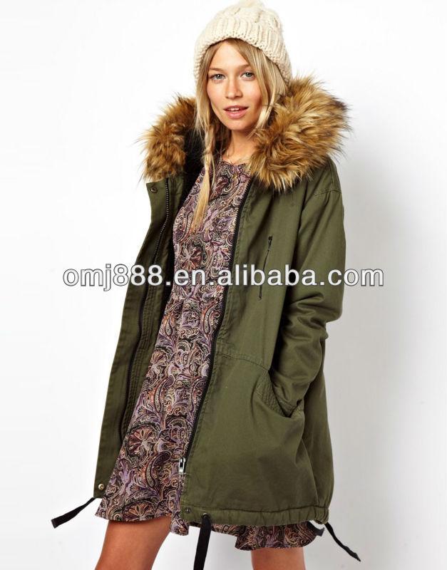 Womens parka fur trimmed hood