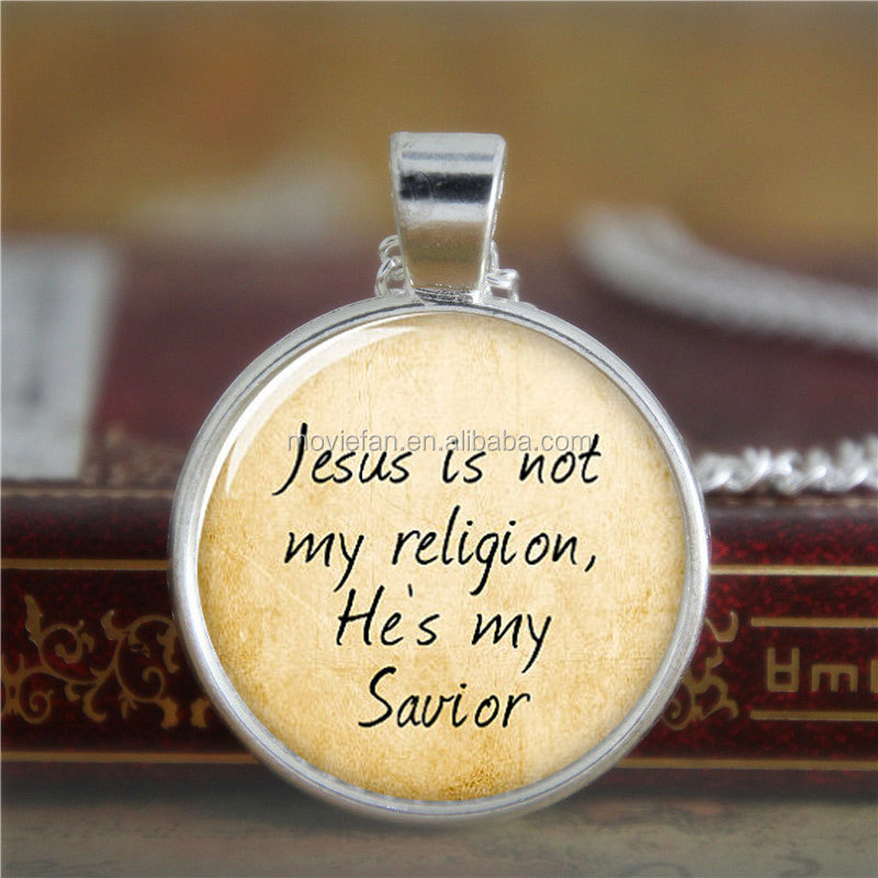 Jesus necklace, jesus is not my religion,he's my savior necklace print photo Christian necklace