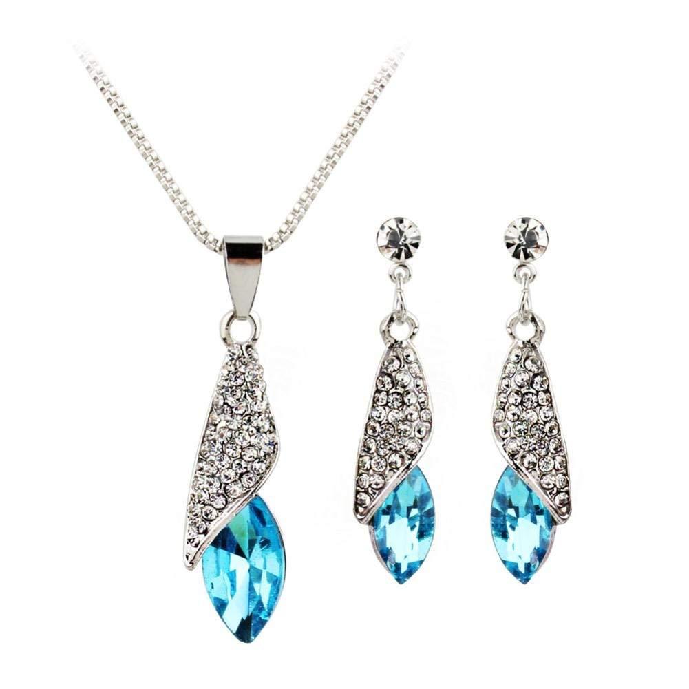 Women's Elegant Water Drop Pendant Necklace Earring Set Crystal Ornaments Jewelry Set (Blue)