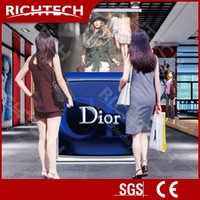 Richtech electric projection banner dynamic rear projection roll up stand for advertising