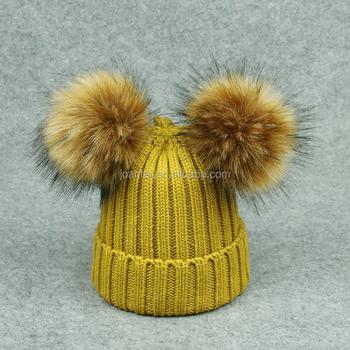 Jonafar Chapéus Bonitos do Inverno Para As Mulheres Duas Bolas Faux Fur chapéu  Gorro Com Pom 90e5fd0670f