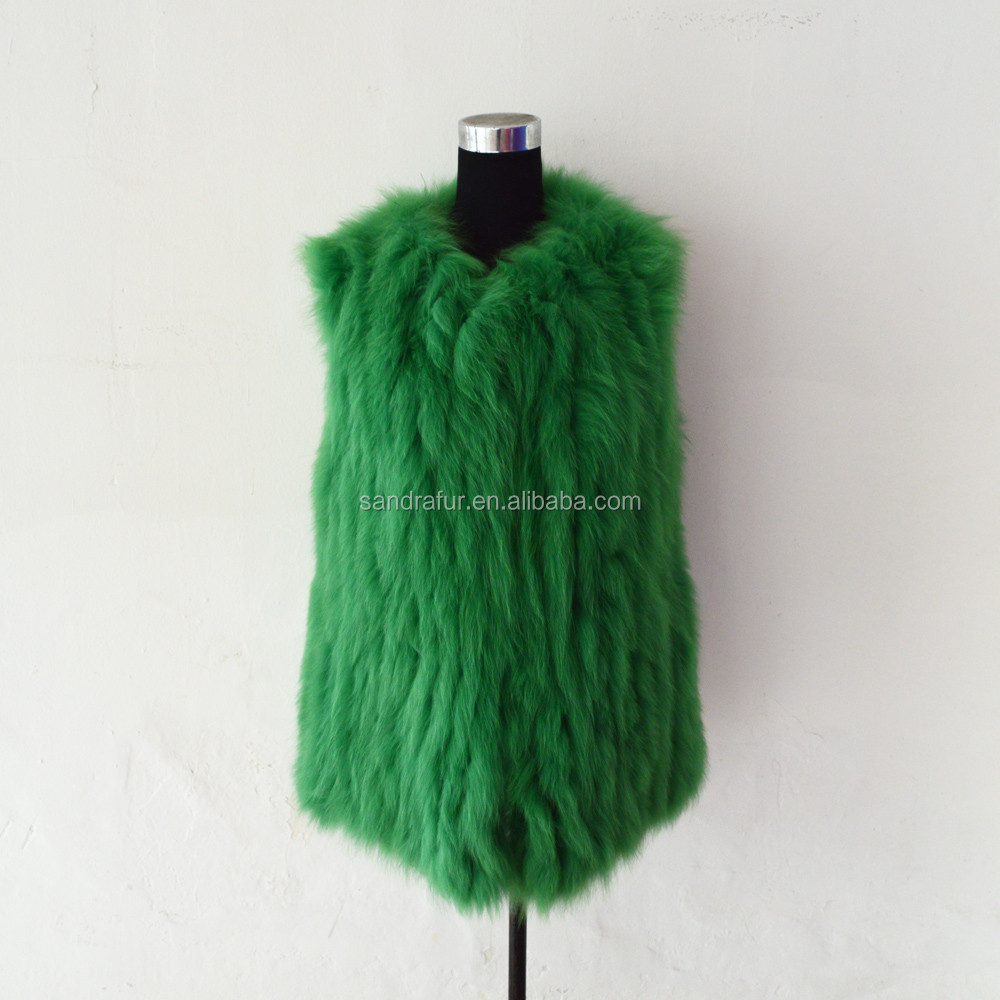 SJ243-07 OEM Service Bright Green Fashion Girl Coat Vest Short Design