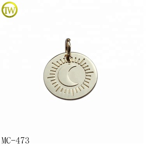 Round shape custom light gold name metal pendant for jewelry