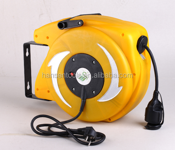15m Wall Mounted Auto Retractable Cable Reel Germany Water Resistance Plug