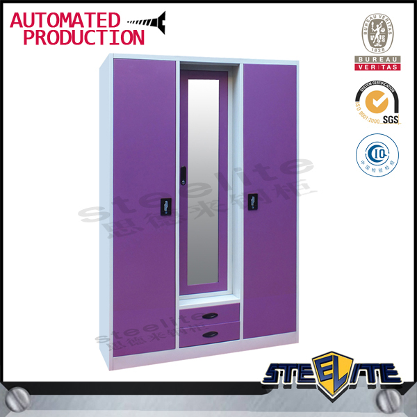 New model 3 door steel almirah cabinet high gloss steel for Bedroom cabinet designs india