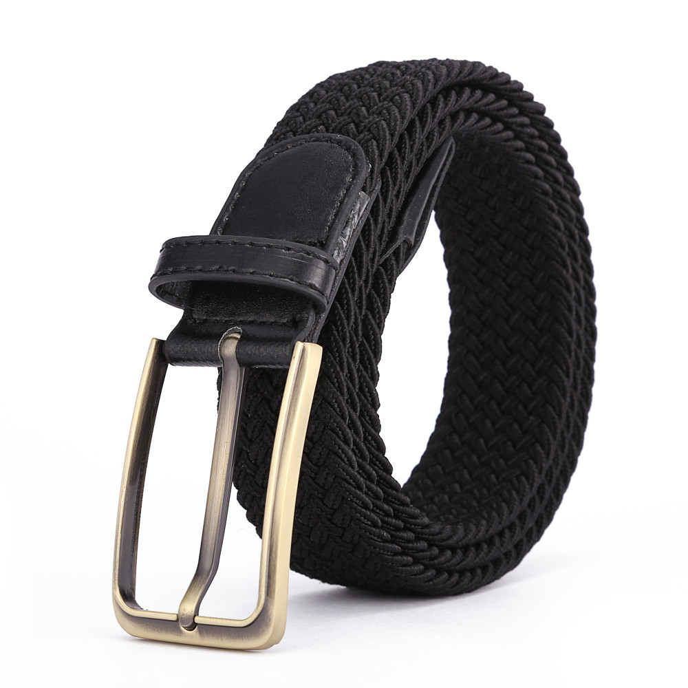 New mix color design two color cotton braided stretch weave elastic belt mens for jeans