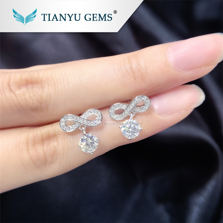 tianyu jewelry China manufacturer bowknot 925 silver gold plated moissanite earring settings