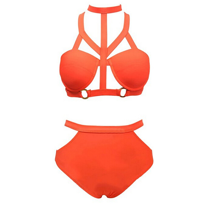 050e3eabd72 Get Quotations · Vintage Bandage Grid Strappy Caged Swimwear Women Micro  Bikini High Waist Bikini Swimsuit Bathing Suit Women