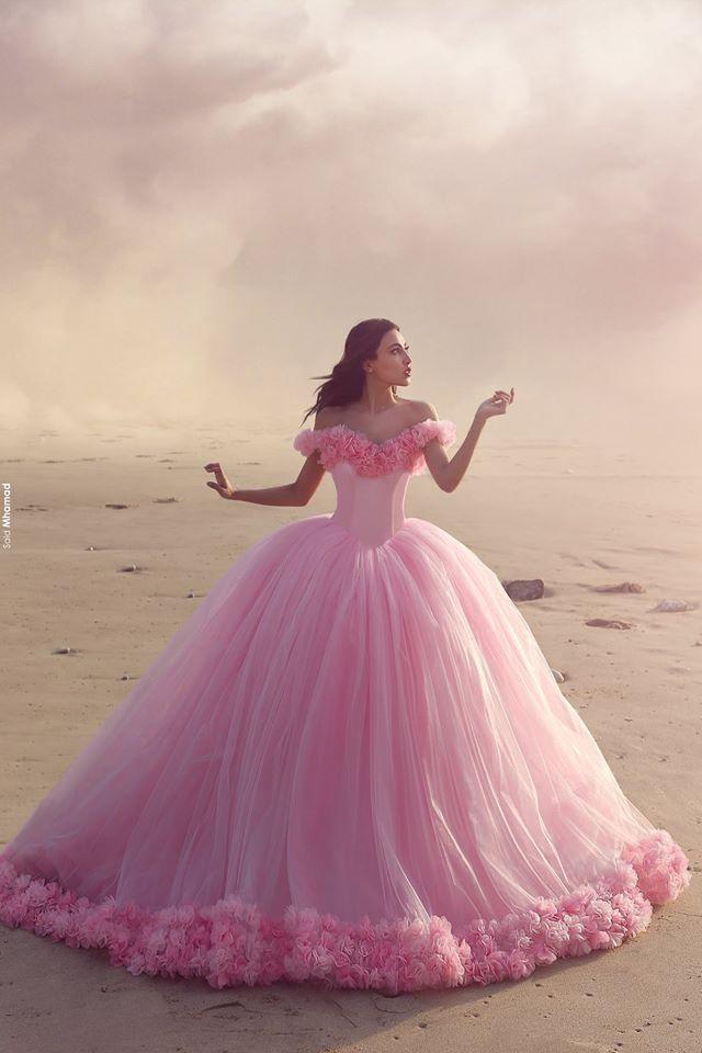 China Custom Made Wedding Dress Pink Princess Floral Bridal Dresses ...