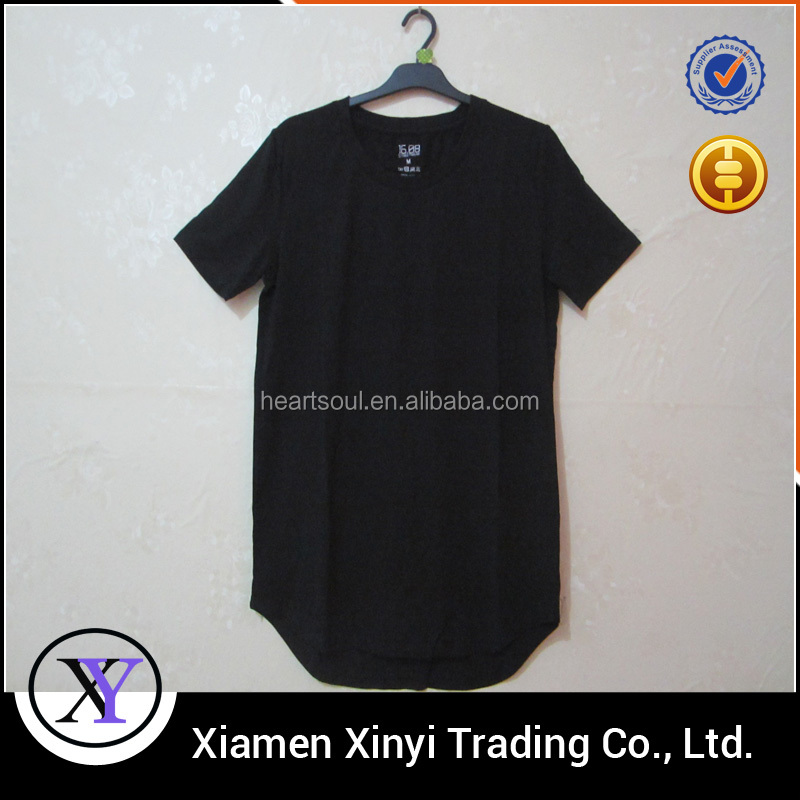 High Quality Silk Screen Print Your Logo Black Pre-shrunk Cotton Custom Long Line Men T Shirt