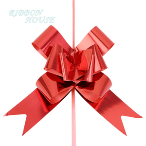 red plastic paper ribbon bows gift webbing Christmas garland decoration Pull Bow(30mm)