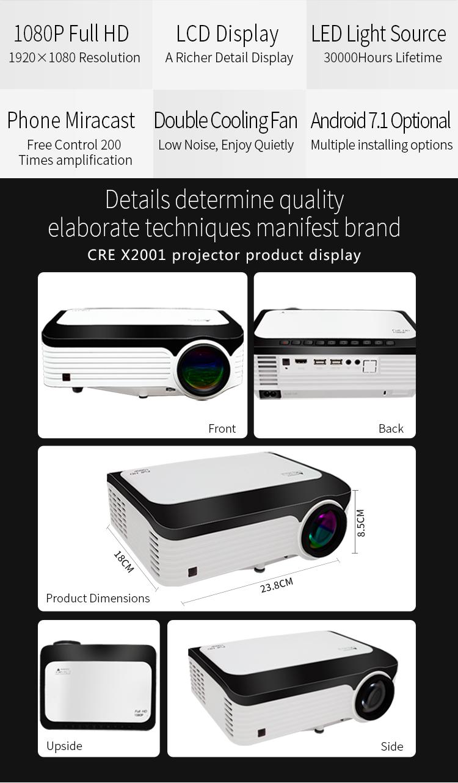 CRE X2001 FULL HD 1080 จุดแบบพกพา LED โปรเจ็กเตอร์ขนาดเล็ก 1920x1080 จอแอลซีดี 200 นิ้ววิดีโอจอแอลซีดีสำหรับโฮมเธียเตอร์เกมภาพยนตร์โรงภาพยนตร์