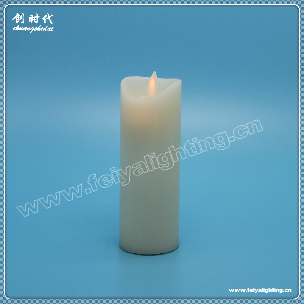 3D moving flame tall pillar wax led flashing candle