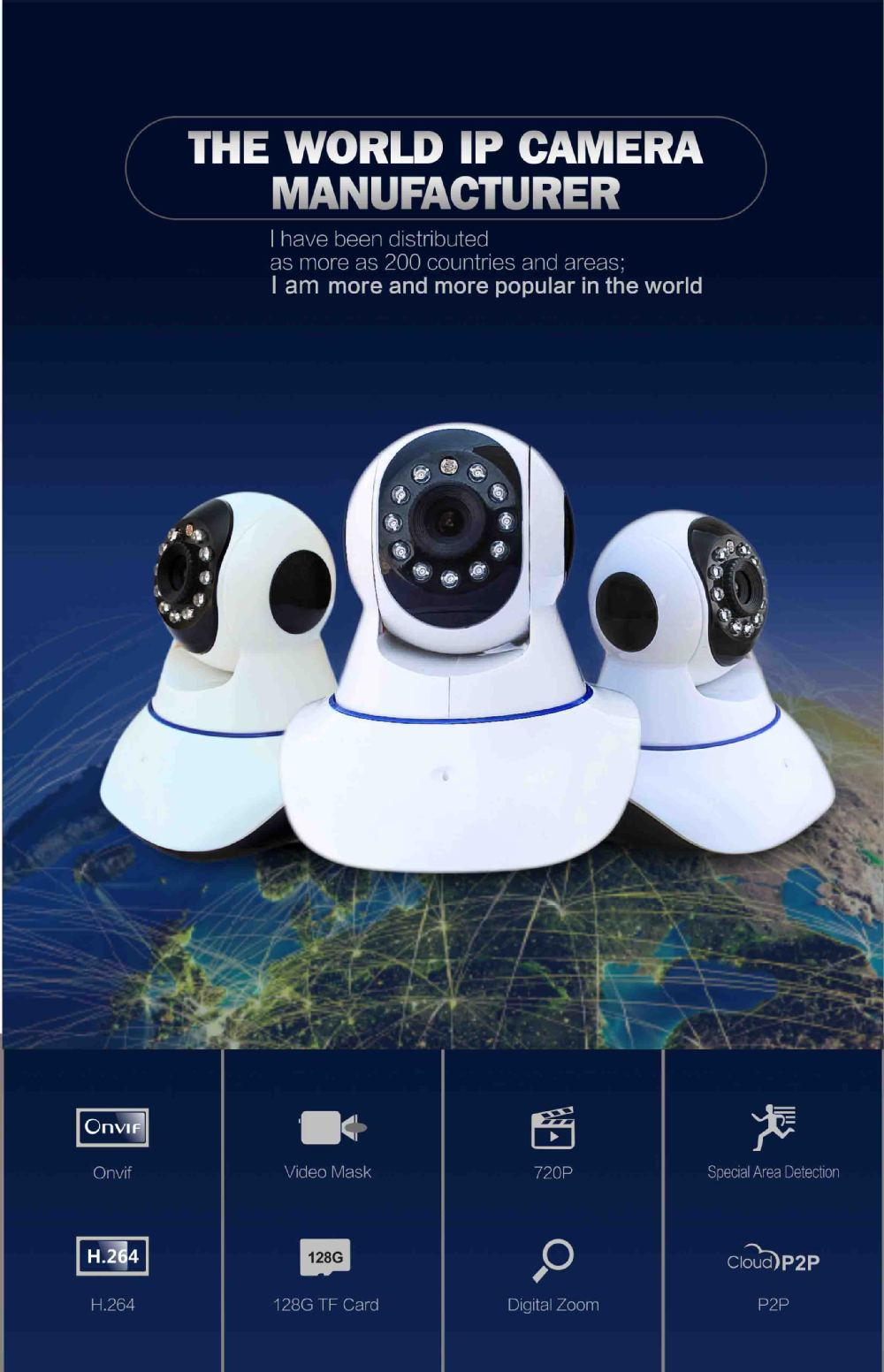 Wanscam Model HW0041 Indoor Use 720P P2P PTZ WIFI Network IP Camera