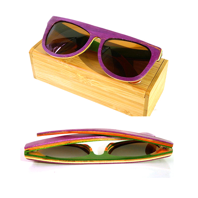 DLB9293 Wood Bamboo Engraved Custom Logo Skateboard Sunglasses