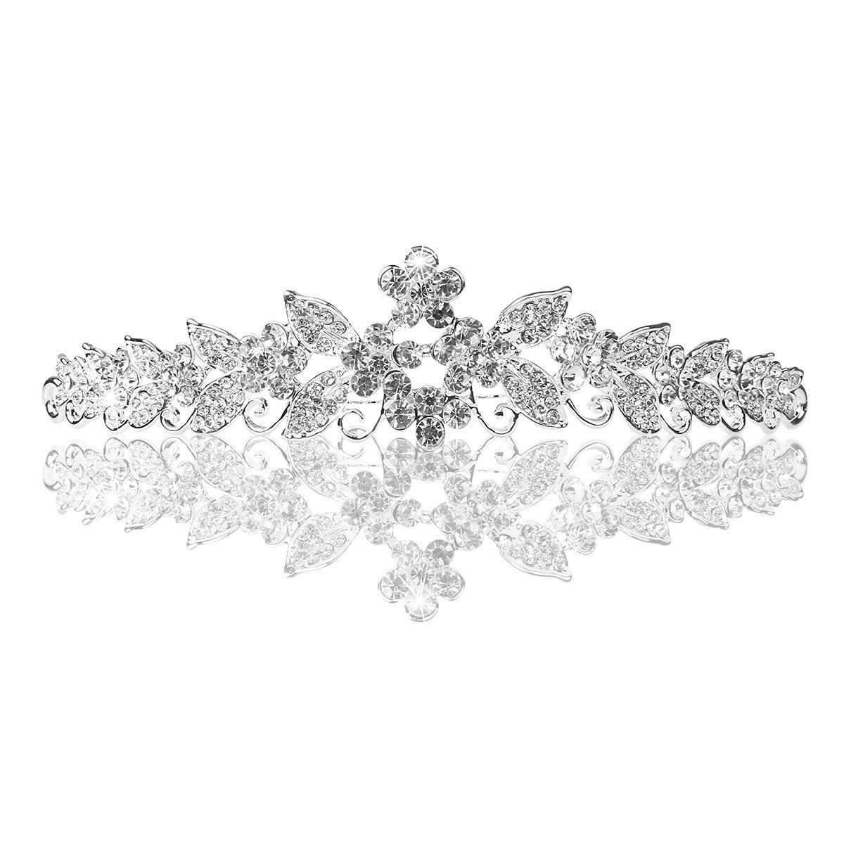 PIXNOR Crystal Rhinestones Crown Tiara Headband with Comb - Great for Wedding Bridal Bridesmaid Prom (Silver) (Silver)