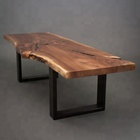 solid black walnut slab table with live edge for dining room ,office and restaurant furniture