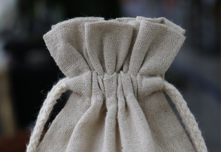 Professional custom cotton linen Small Drawstring Bag