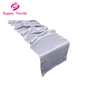 Modern polyester waterproof silver satin table runners for wedding