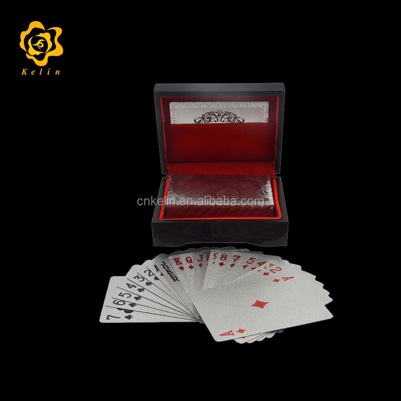 Silver Normal <strong>Design</strong> 99.9% 24k Gold Plated Playing Card with UK 50 pound