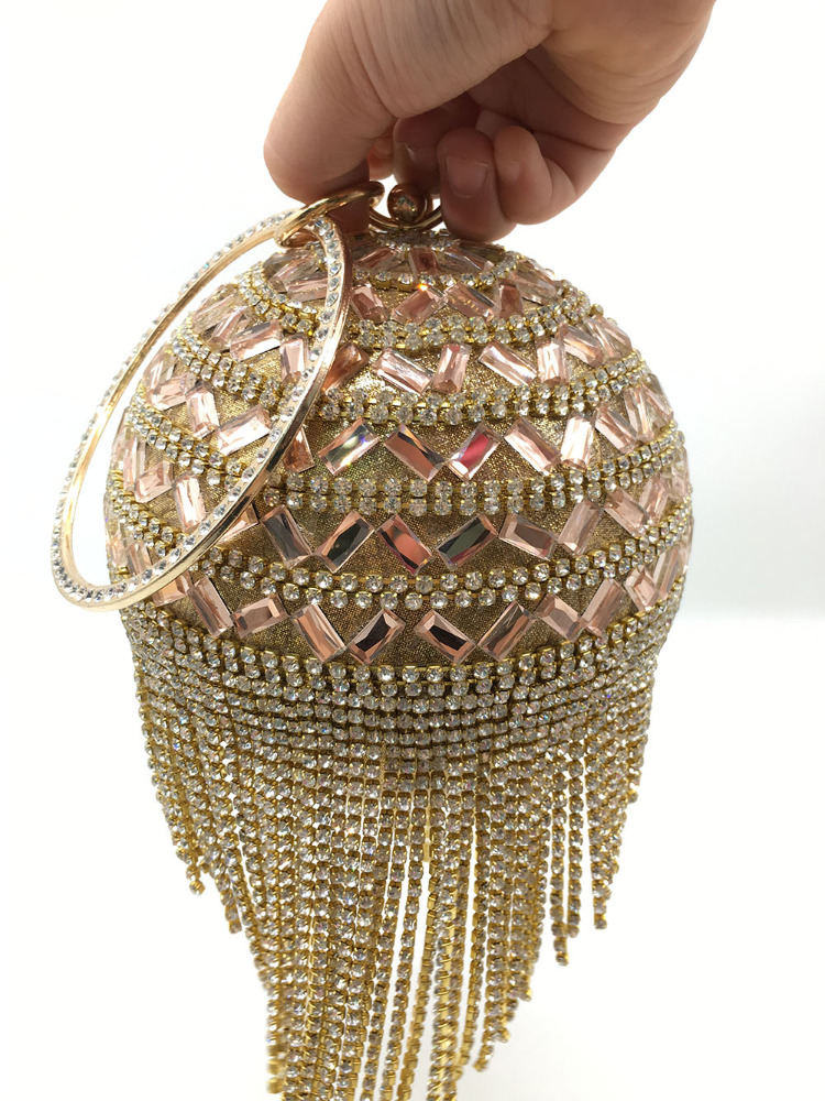 Newest china wholesale fashionable pearl ball design clutch evening bag handbag