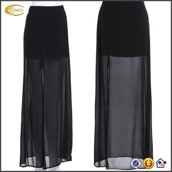 b6716e1ea1abba Ecoach Groothandel OEM Pictures van Lange Rok Nieuwste Ontwerp Lady Zwart  Split Sheer Chiffon Maxi Rokken